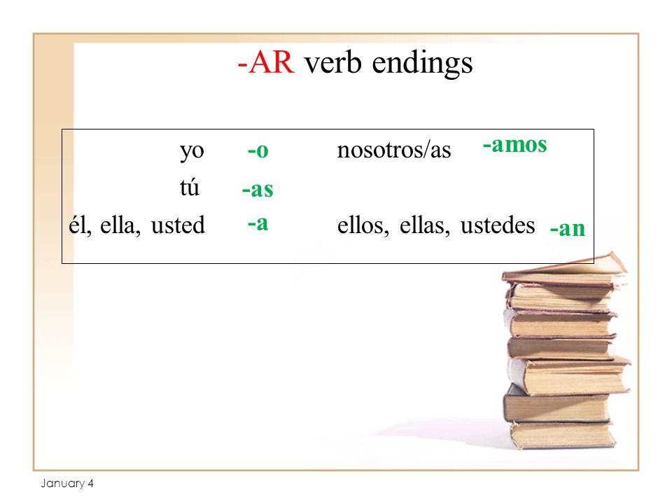 -AR verb endings yo nosotros/as tú él, ella, ustedellos, ellas, ustedes -o -as -a -amos -an January 4