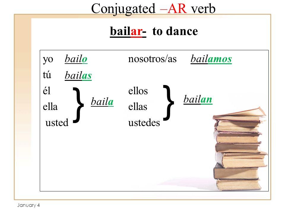 Conjugated –AR verb yo nosotros/as tú élellos ellaellas usted ustedes bailar- to dance bailo bailas baila bailamos bailan } } January 4
