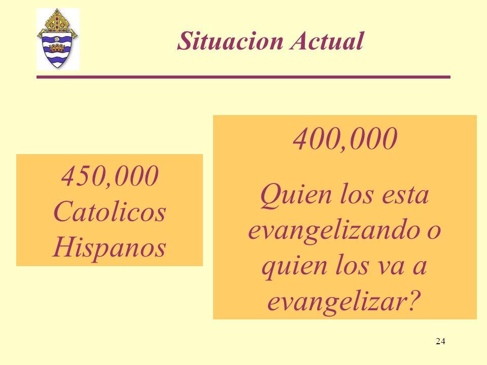 24 400,000 Quien los esta evangelizando o quien los va a evangelizar? 450,000 Catolicos Hispanos Situacion Actual