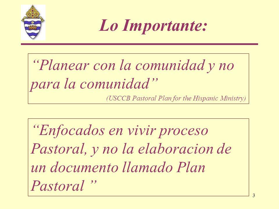 3 Planear con la comunidad y no para la comunidad (USCCB Pastoral Plan for the Hispanic Ministry) Lo Importante: Enfocados en vivir proceso Pastoral,
