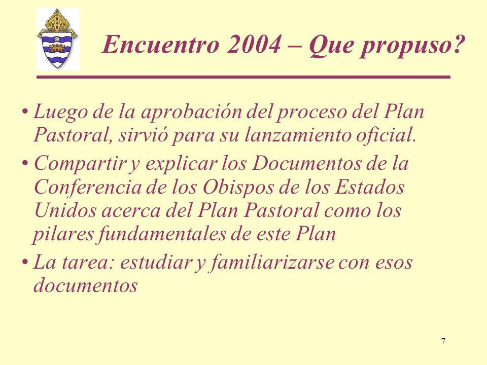 7 Encuentro 2004 – Que propuso? Luego de la aprobación del proceso del Plan Pastoral, sirvió para su lanzamiento oficial. Compartir y explicar los Doc