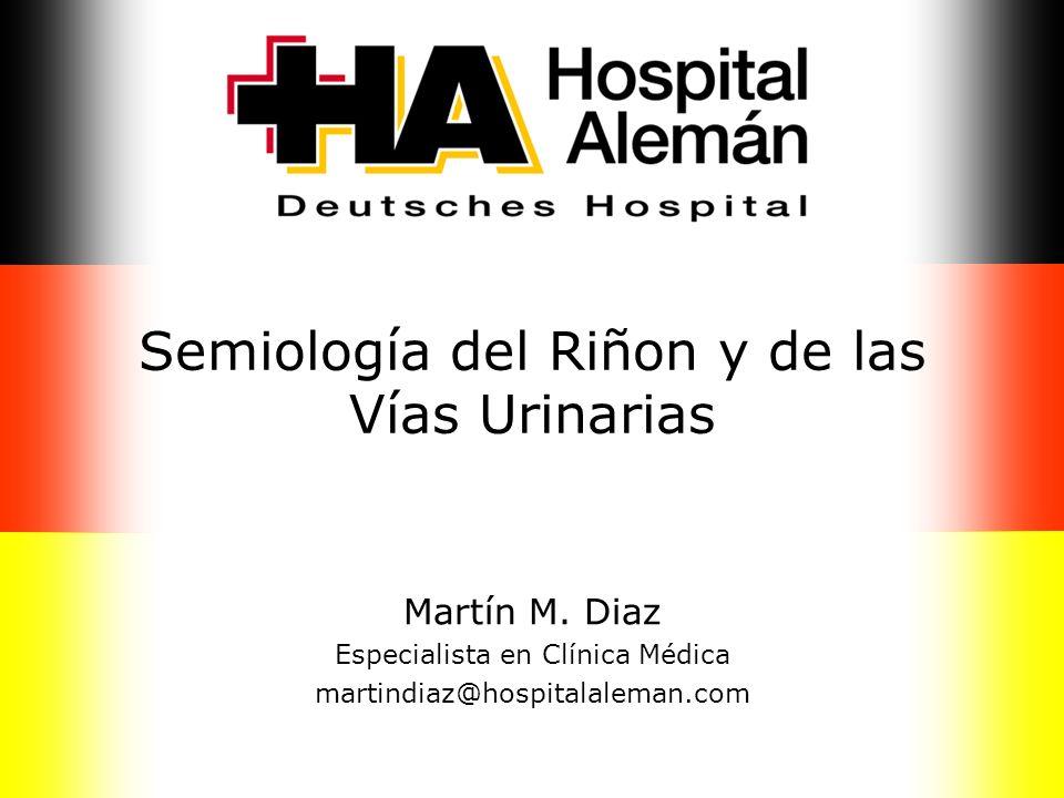 Semiología del Riñon y de las Vías Urinarias Martín M. Diaz Especialista en Clínica Médica martindiaz@hospitalaleman.com