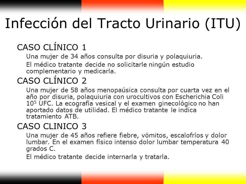Infección del Tracto Urinario (ITU) CASO CLÍNICO 1 Una mujer de 34 años consulta por disuria y polaquiuria. El médico tratante decide no solicitarle n