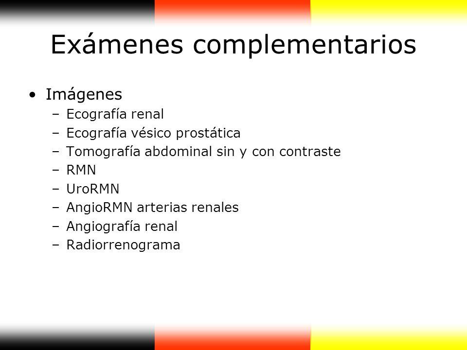 Exámenes complementarios Imágenes –Ecografía renal –Ecografía vésico prostática –Tomografía abdominal sin y con contraste –RMN –UroRMN –AngioRMN arter