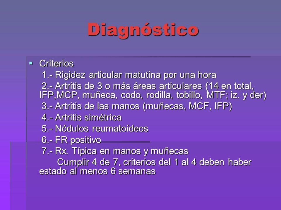 Diagnóstico Criterios Criterios 1.- Rigidez articular matutina por una hora 1.- Rigidez articular matutina por una hora 2.- Artritis de 3 o más áreas