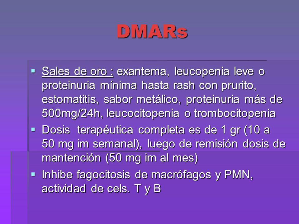 DMARs Sales de oro : exantema, leucopenia leve o proteinuria mínima hasta rash con prurito, estomatitis, sabor metálico, proteinuria más de 500mg/24h,