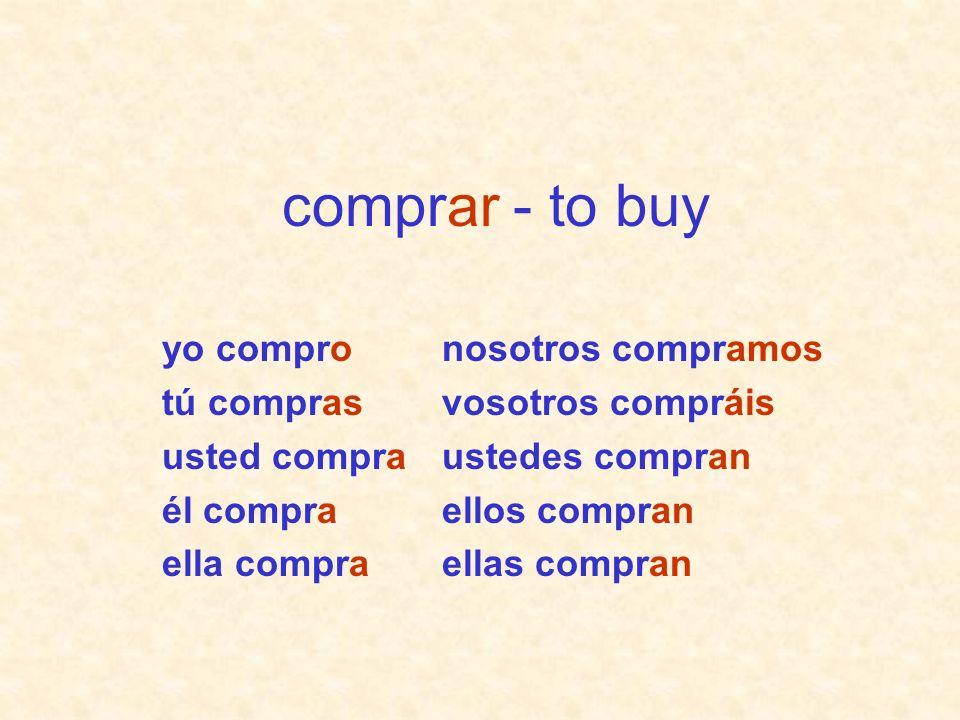 nosotros compramos vosotros compráis ustedes compran ellos compran ellas compran yo compro tú compras usted compra él compra ella compra comprar - to