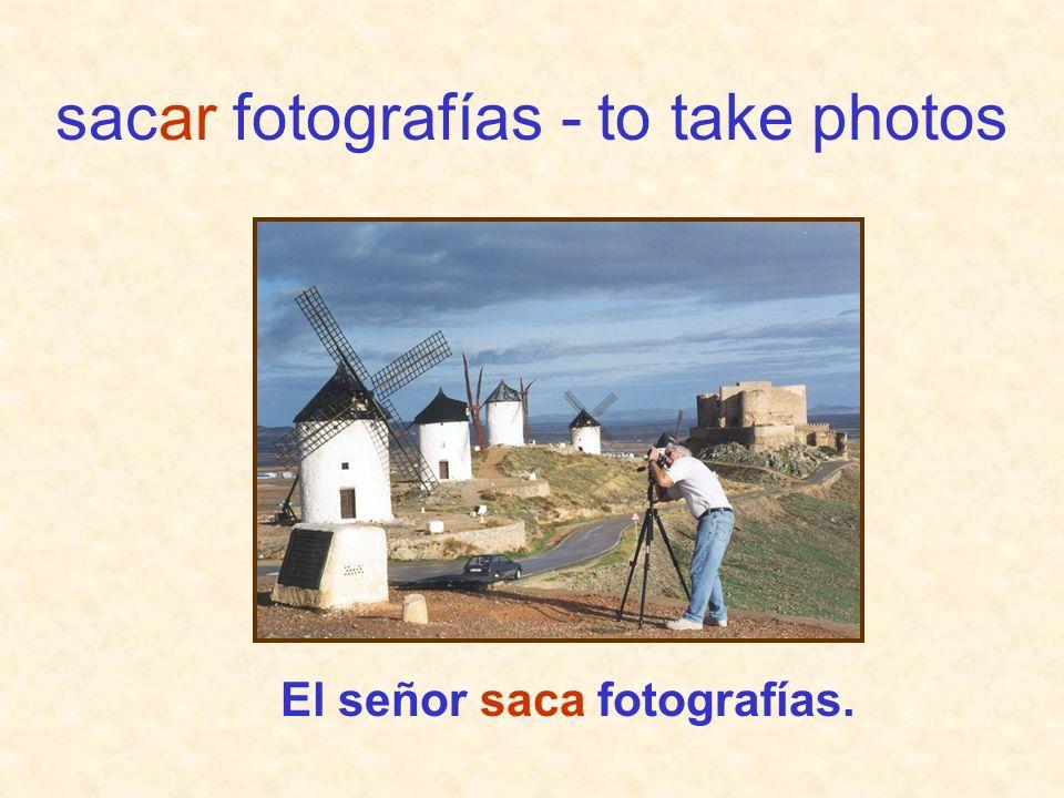 El señor saca fotografías. sacar fotografías - to take photos