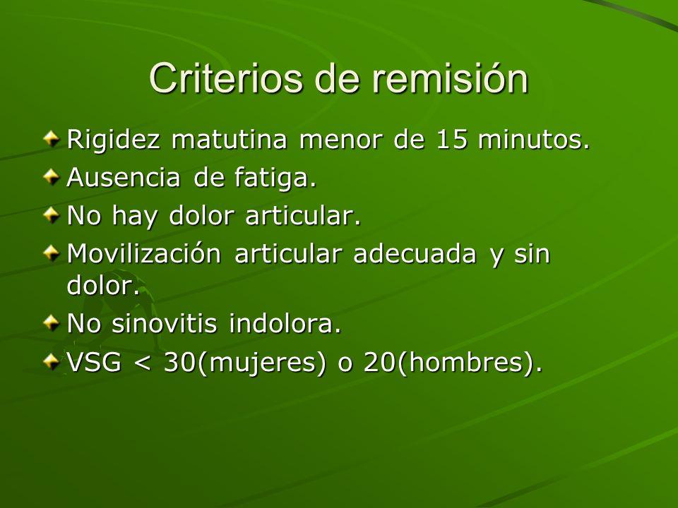 Criterios de remisión Rigidez matutina menor de 15 minutos. Ausencia de fatiga. No hay dolor articular. Movilización articular adecuada y sin dolor. N