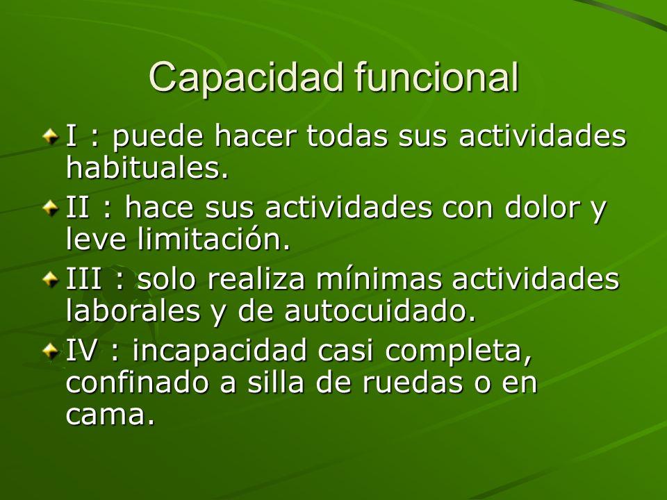 Capacidad funcional I : puede hacer todas sus actividades habituales. II : hace sus actividades con dolor y leve limitación. III : solo realiza mínima