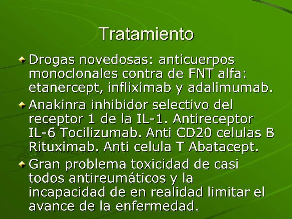 Tratamiento Drogas novedosas: anticuerpos monoclonales contra de FNT alfa: etanercept, infliximab y adalimumab. Anakinra inhibidor selectivo del recep
