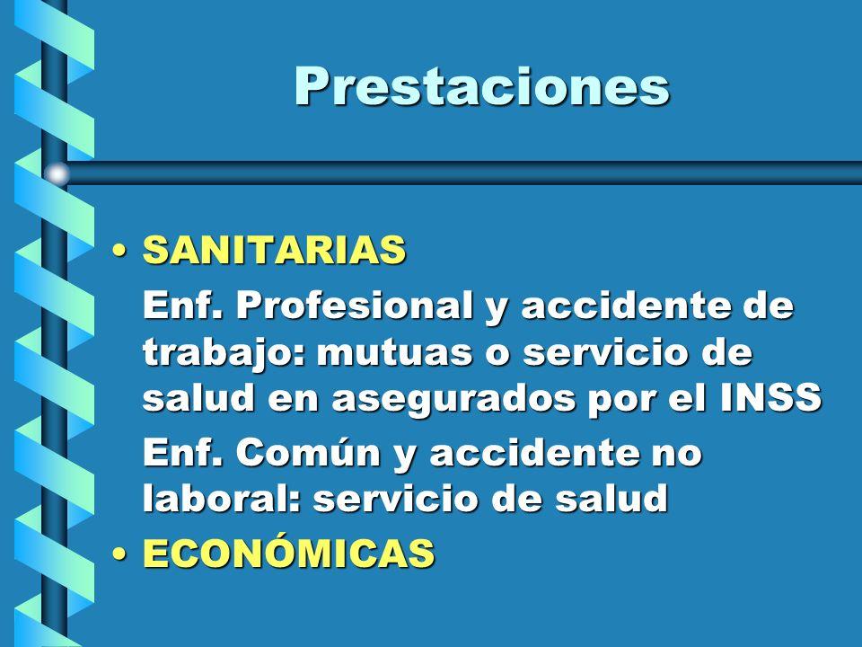 Prestaciones SANITARIASSANITARIAS Enf. Profesional y accidente de trabajo: mutuas o servicio de salud en asegurados por el INSS Enf. Común y accidente