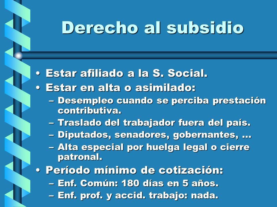 Derecho al subsidio Estar afiliado a la S. Social.Estar afiliado a la S. Social. Estar en alta o asimilado:Estar en alta o asimilado: –Desempleo cuand