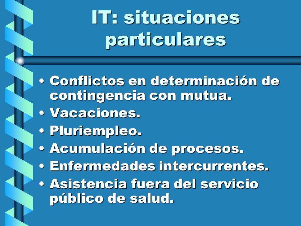 IT: situaciones particulares Conflictos en determinación de contingencia con mutua.Conflictos en determinación de contingencia con mutua. Vacaciones.V