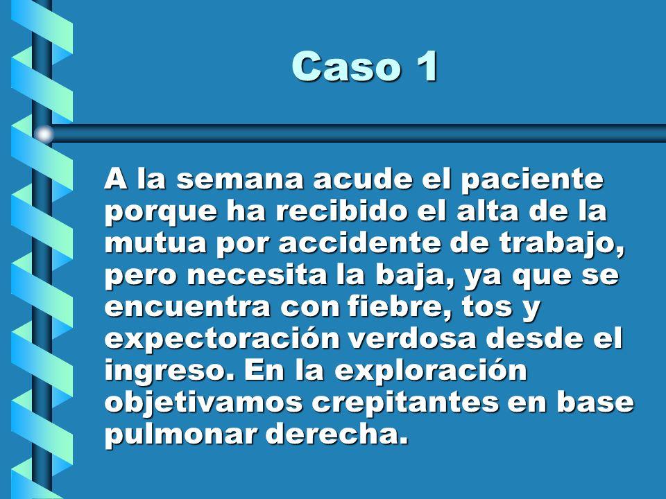 Caso 1 A la semana acude el paciente porque ha recibido el alta de la mutua por accidente de trabajo, pero necesita la baja, ya que se encuentra con f