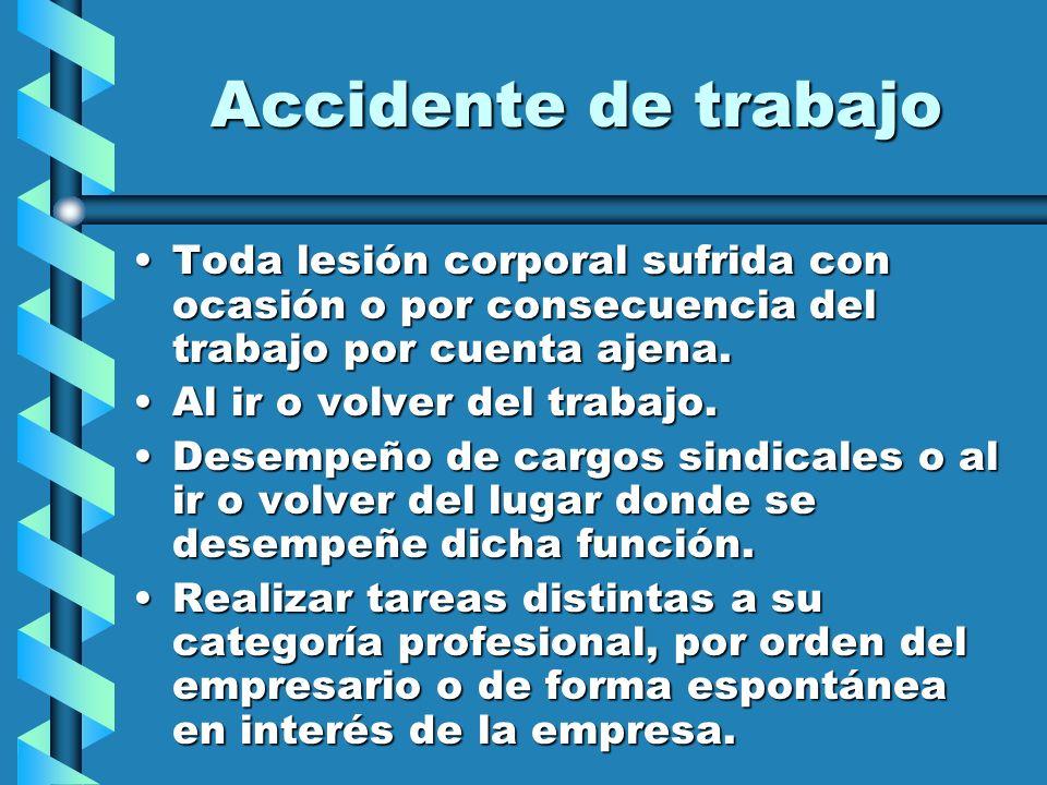 Accidente de trabajo Toda lesión corporal sufrida con ocasión o por consecuencia del trabajo por cuenta ajena.Toda lesión corporal sufrida con ocasión