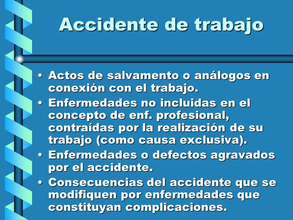 Accidente de trabajo Actos de salvamento o análogos en conexión con el trabajo.Actos de salvamento o análogos en conexión con el trabajo. Enfermedades