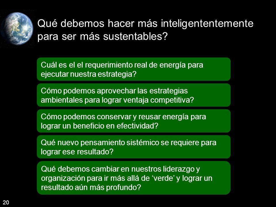 Qué debemos hacer más inteligententemente para ser más sustentables.