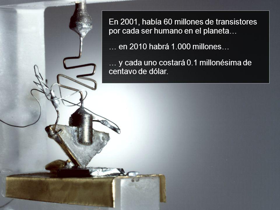 En 2001, había 60 millones de transistores por cada ser humano en el planeta… … en 2010 habrá 1.000 millones… … y cada uno costará 0.1 millonésima de centavo de dólar.