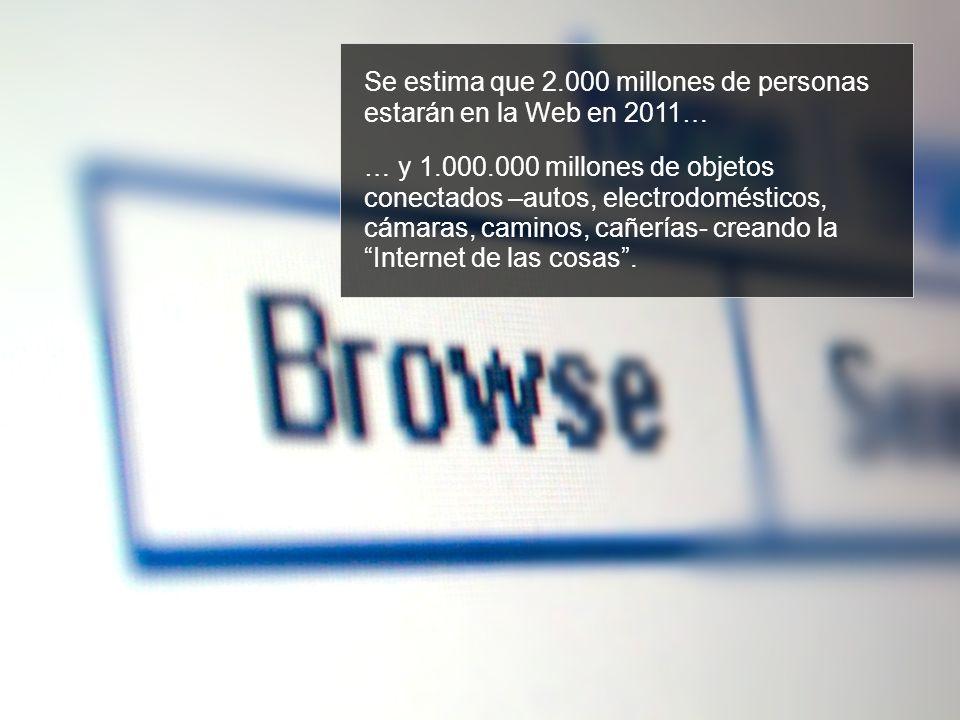 Se estima que 2.000 millones de personas estarán en la Web en 2011… … y 1.000.000 millones de objetos conectados –autos, electrodomésticos, cámaras, caminos, cañerías- creando la Internet de las cosas.