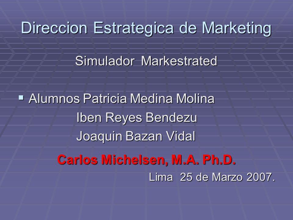 Direccion Estrategica de Marketing Simulador Markestrated Alumnos Patricia Medina Molina Alumnos Patricia Medina Molina Iben Reyes Bendezu Joaquin Baz