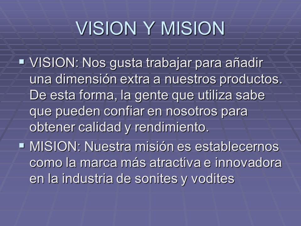 VISION Y MISION VISION: Nos gusta trabajar para añadir una dimensión extra a nuestros productos. De esta forma, la gente que utiliza sabe que pueden c