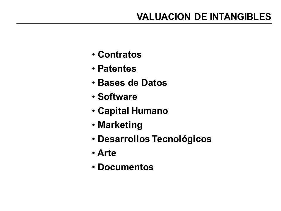 VALUACION DE INTANGIBLES Contratos Patentes Bases de Datos Software Capital Humano Marketing Desarrollos Tecnológicos Arte Documentos