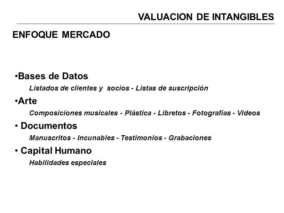 VALUACION DE INTANGIBLES Bases de Datos Listados de clientes y socios - Listas de suscripción Arte Composiciones musicales - Plástica - Libretos - Fot