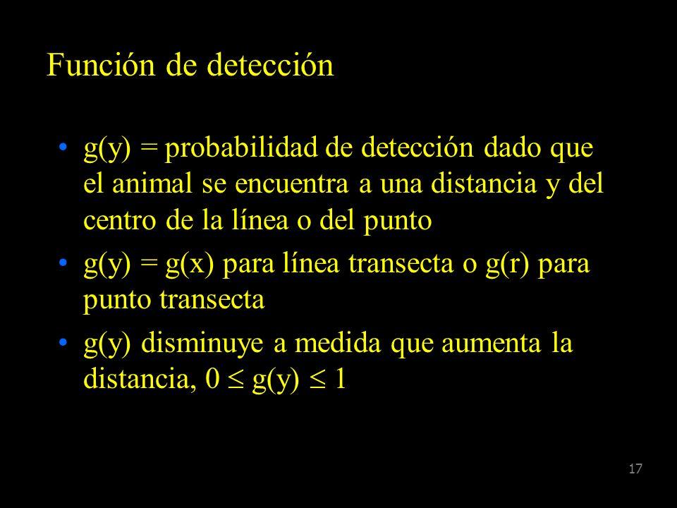 16 Supuestos g(0) = 1 Los Animales son detectados en el lugar inicial, es decir, no hay movimiento antes de la detección Las distancias son registrada