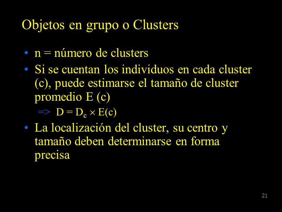20 Datos No agrupados Las distancias son registradas en forma exacta a individuos o grupos Agrupados Las distancias a individuos o grupos son registra