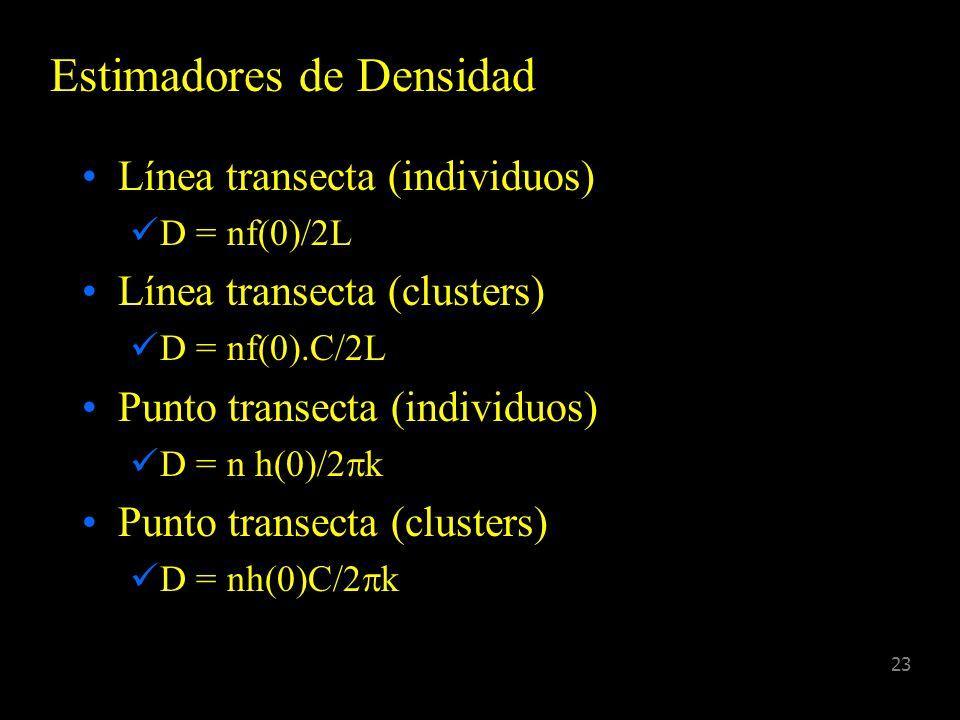 22 Parámetros D = número por unidad de área N = tamaño poblacional en el área de estudio E(c) = tamaño del cluster promedio esperado f(0) = PDF de las