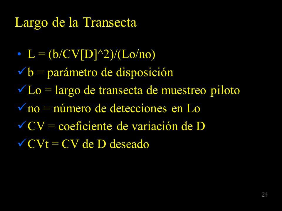23 Estimadores de Densidad Línea transecta (individuos) D = nf(0)/2L Línea transecta (clusters) D = nf(0).C/2L Punto transecta (individuos) D = n h(0)