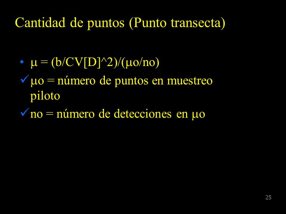 24 Largo de la Transecta L = (b/CV[D]^2)/(Lo/no) b = parámetro de disposición Lo = largo de transecta de muestreo piloto no = número de detecciones en