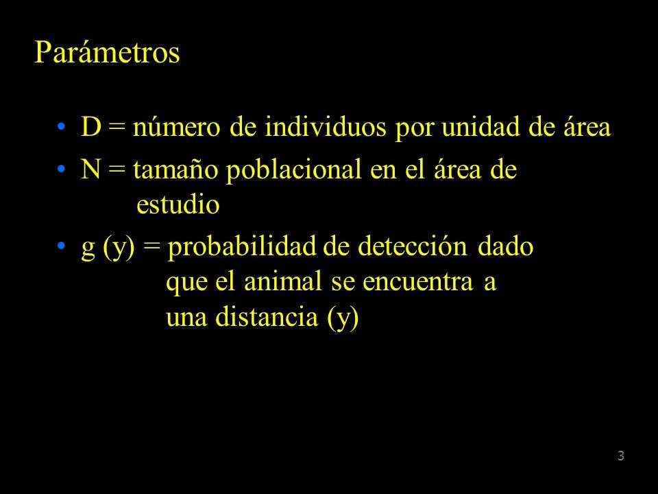 3 Parámetros D = número de individuos por unidad de área N = tamaño poblacional en el área de estudio g (y) = probabilidad de detección dado que el animal se encuentra a una distancia (y)