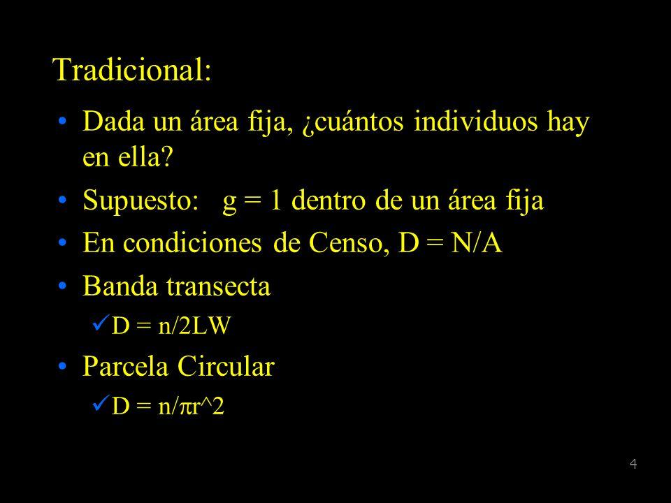 3 Parámetros D = número de individuos por unidad de área N = tamaño poblacional en el área de estudio g (y) = probabilidad de detección dado que el an