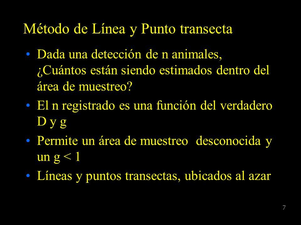17 Función de detección g(y) = probabilidad de detección dado que el animal se encuentra a una distancia y del centro de la línea o del punto g(y) = g(x) para línea transecta o g(r) para punto transecta g(y) disminuye a medida que aumenta la distancia, 0 g(y) 1