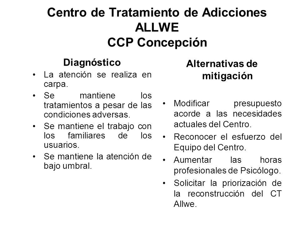 Centro de Tratamiento de Adicciones ALLWE CCP Concepción Diagnóstico La atención se realiza en carpa. Se mantiene los tratamientos a pesar de las cond
