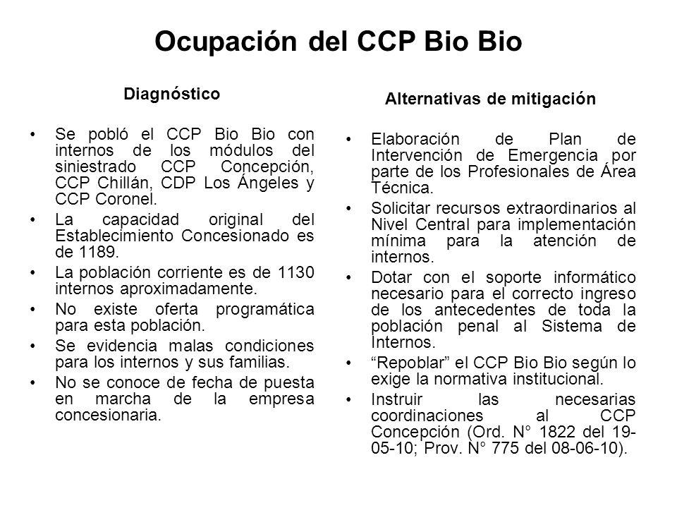 Ocupación del CCP Bio Bio Diagnóstico Se pobló el CCP Bio Bio con internos de los módulos del siniestrado CCP Concepción, CCP Chillán, CDP Los Ángeles