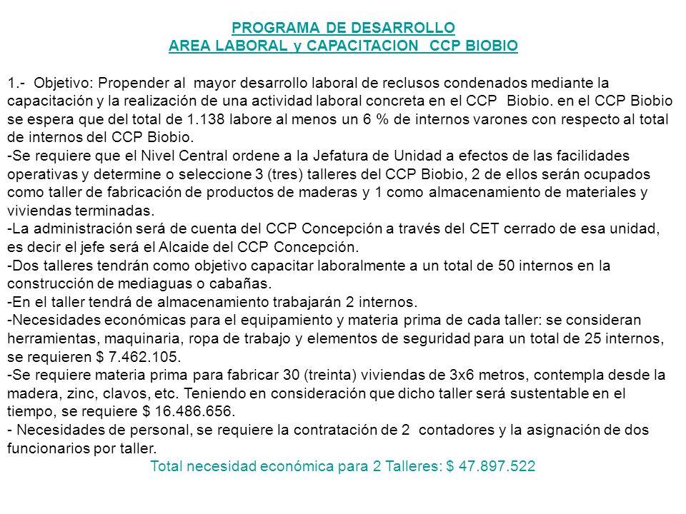 PROGRAMA DE DESARROLLO AREA LABORAL y CAPACITACION CCP BIOBIO 1.- Objetivo: Propender al mayor desarrollo laboral de reclusos condenados mediante la c