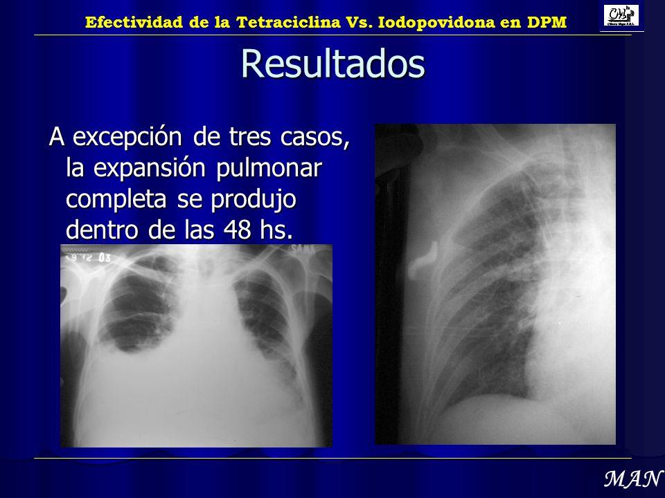Resultados A excepción de tres casos, la expansión pulmonar completa se produjo dentro de las 48 hs. A excepción de tres casos, la expansión pulmonar