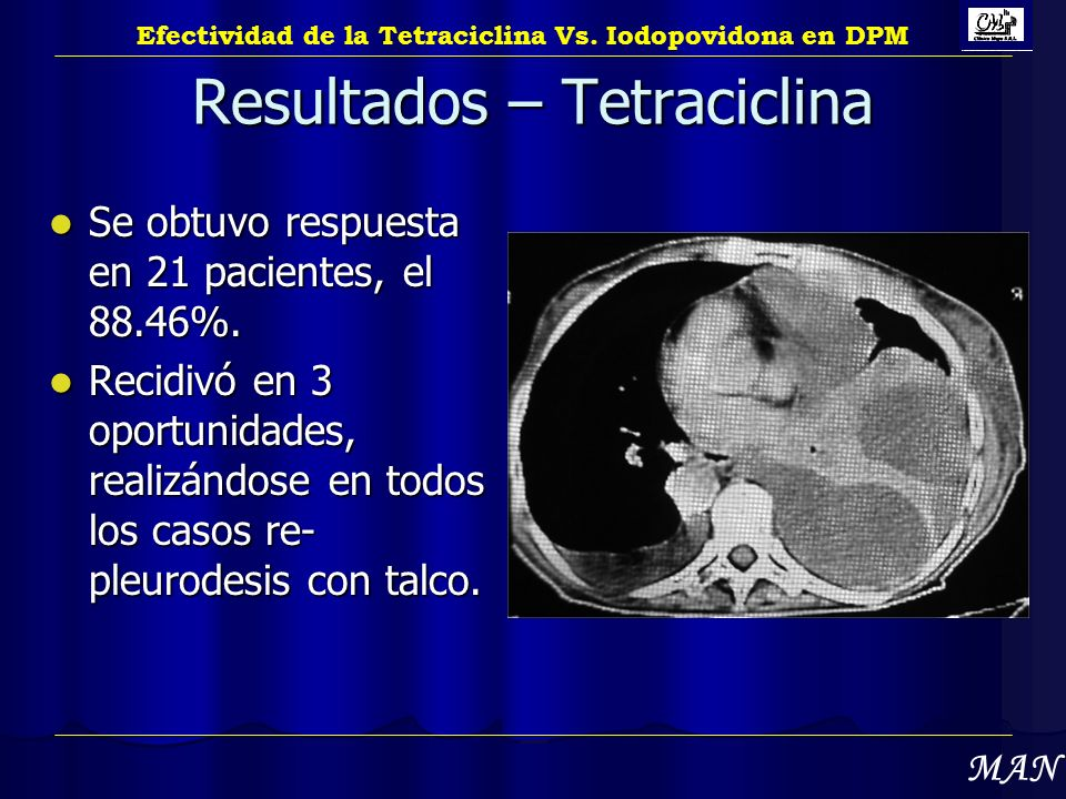 Resultados – Tetraciclina Se obtuvo respuesta en 21 pacientes, el 88.46%. Se obtuvo respuesta en 21 pacientes, el 88.46%. Recidivó en 3 oportunidades,