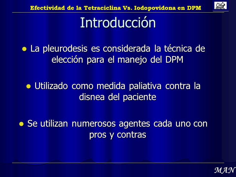 Introducción La pleurodesis es considerada la técnica de elección para el manejo del DPM La pleurodesis es considerada la técnica de elección para el