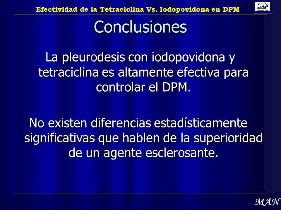 Conclusiones La pleurodesis con iodopovidona y tetraciclina es altamente efectiva para controlar el DPM. La pleurodesis con iodopovidona y tetraciclin
