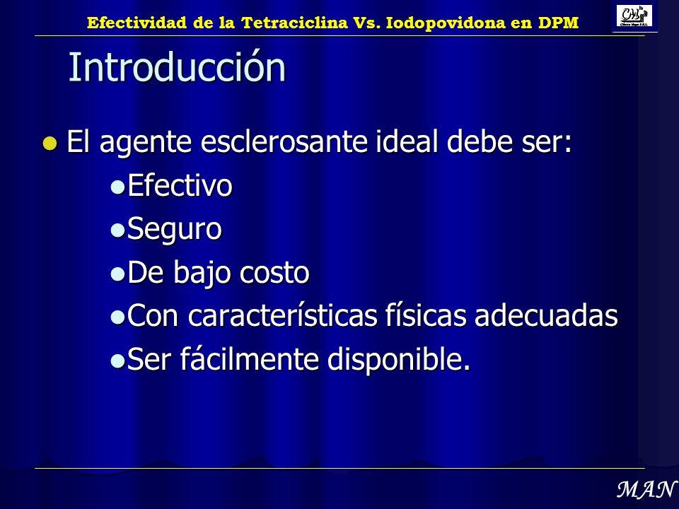 Introducción El agente esclerosante ideal debe ser: El agente esclerosante ideal debe ser: Efectivo Efectivo Seguro Seguro De bajo costo De bajo costo