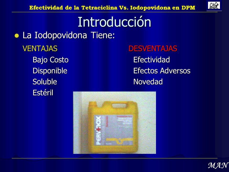Introducción La Iodopovidona Tiene: La Iodopovidona Tiene: VENTAJASDESVENTAJAS Bajo Costo Efectividad Disponible Efectos Adversos Soluble Novedad Esté