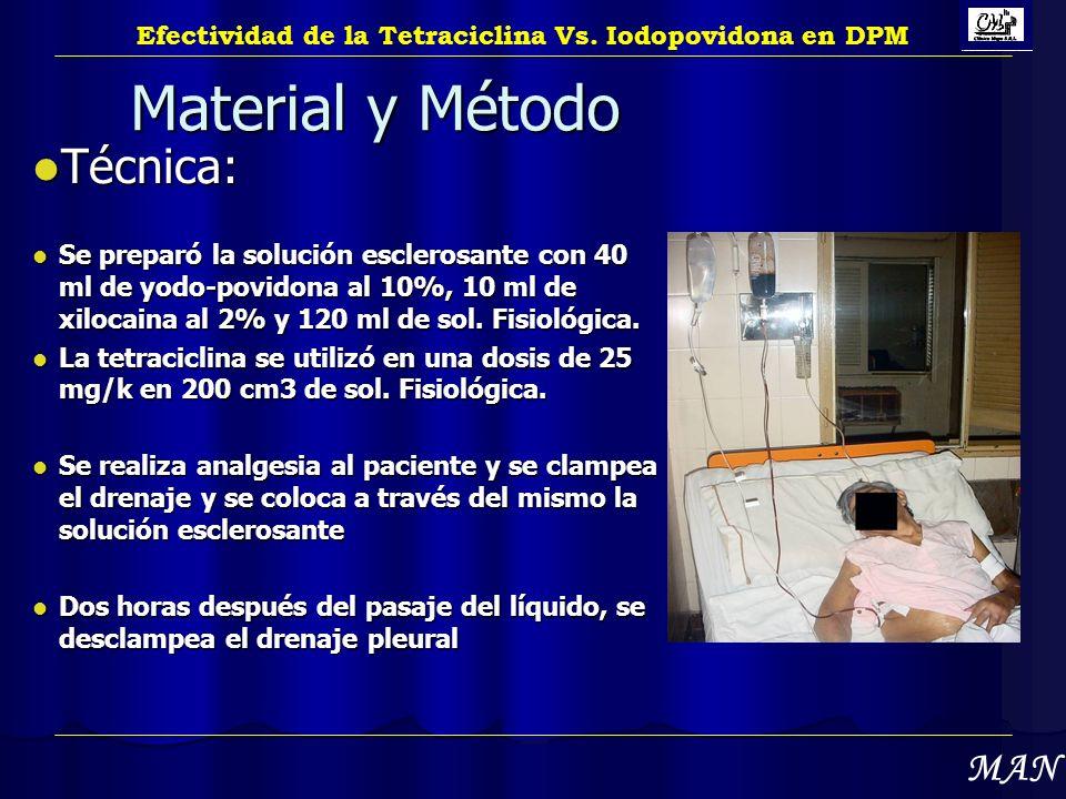 Material y Método Técnica: Técnica: Se preparó la solución esclerosante con 40 ml de yodo-povidona al 10%, 10 ml de xilocaina al 2% y 120 ml de sol. F