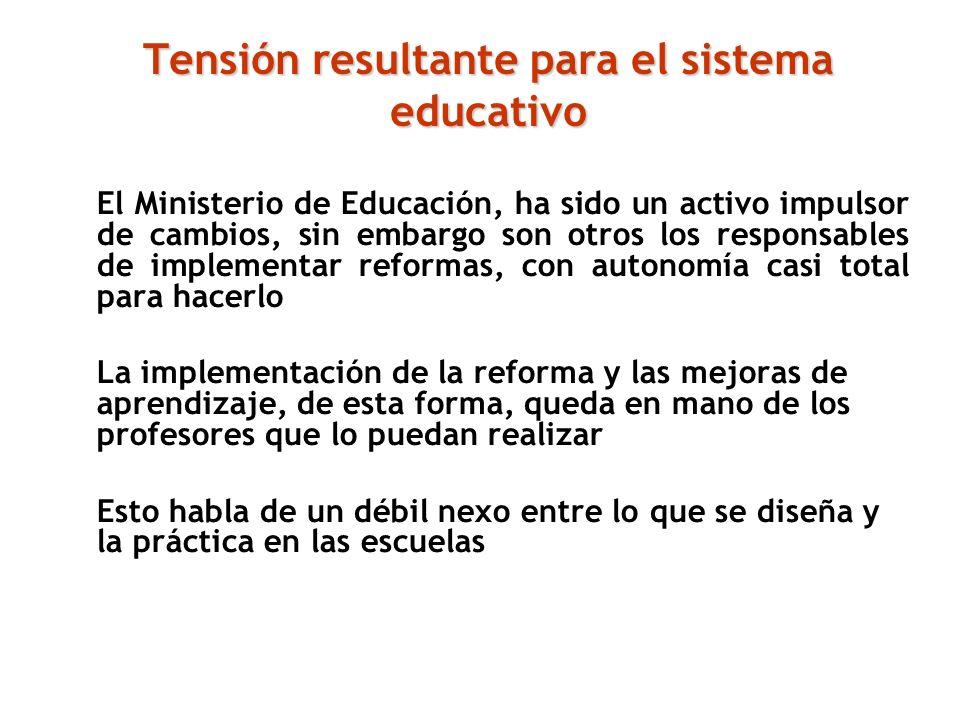 Tensión resultante para el sistema educativo El Ministerio de Educación, ha sido un activo impulsor de cambios, sin embargo son otros los responsables