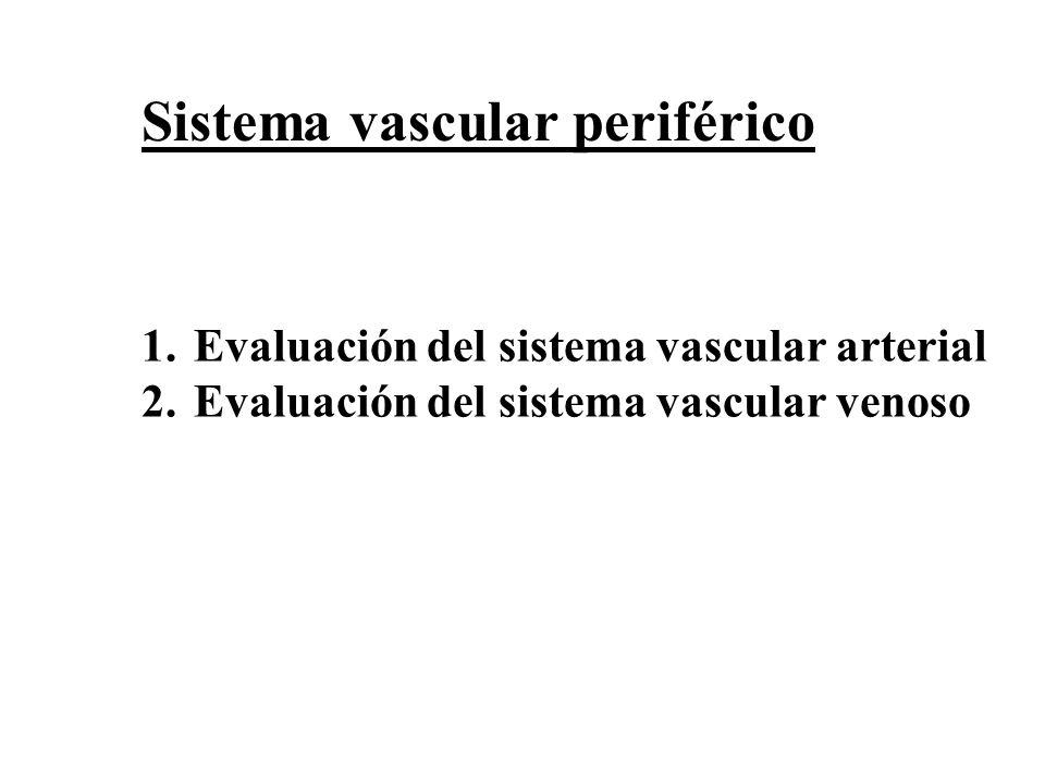 1.Evaluación del sistema vascular arterial 2.Evaluación del sistema vascular venoso Sistema vascular periférico