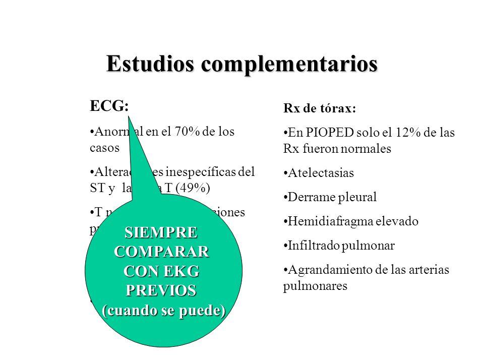 Estudios complementarios ECG: Anormal en el 70% de los casos Alteraciones inespecíficas del ST y la onda T (49%) T negativas en derivaciones precordia
