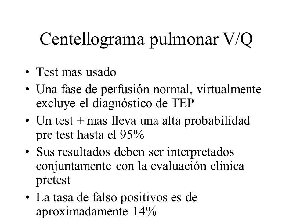 Centellograma pulmonar V/Q Test mas usado Una fase de perfusión normal, virtualmente excluye el diagnóstico de TEP Un test + mas lleva una alta probab